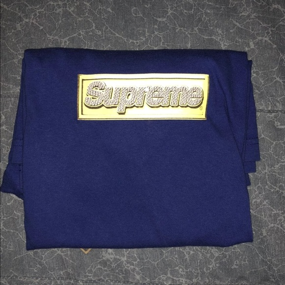 Supreme Blue Bling Box Logo T Shirt